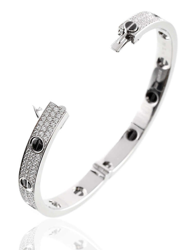 Cartier Love Full Diamond Pave Bangle in White Gold 3