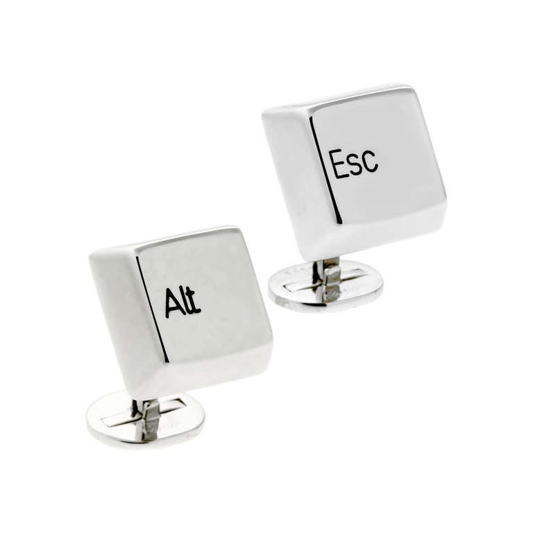 "Cartier ""Esc"" ""Alt"" Cufflinks in White Gold For Sale"
