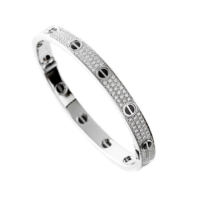 Cartier Love Full Diamond Pave Bangle in White Gold 1