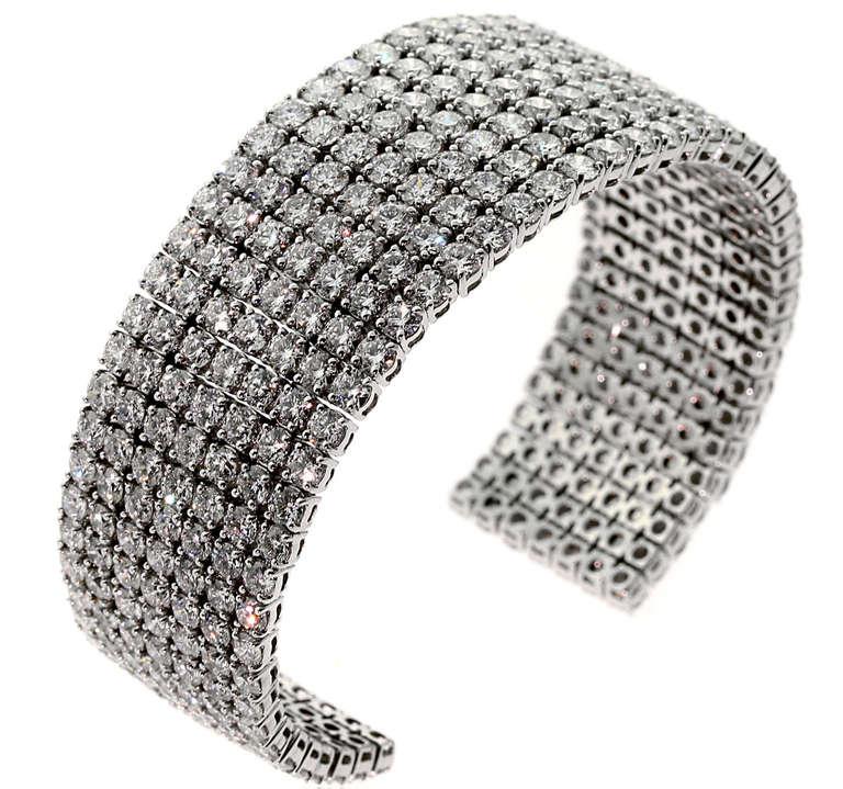 36 Carats of Diamonds White Gold Cuff Bangle Bracelet 3