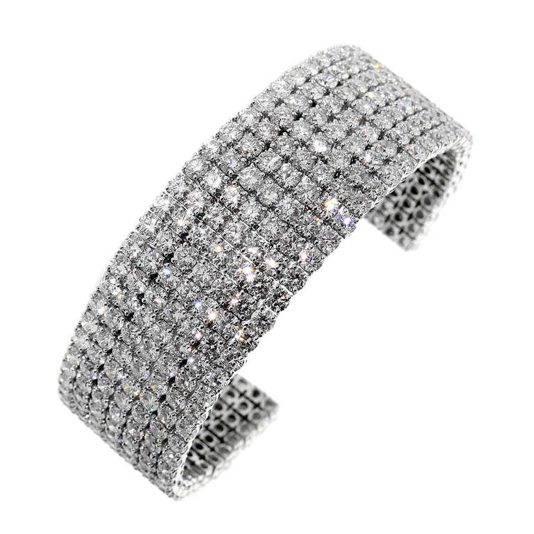 36 Carats of Diamonds White Gold Cuff Bangle Bracelet 1
