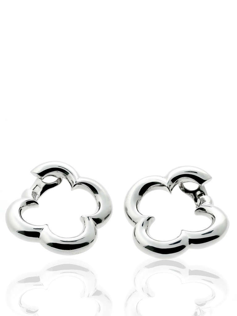 A fabulous pair of authentic Van Cleef & Arpels earrings depicting the iconic Alhambra motif set in 18k white gold. The symbol is said to represent luck, health, fortune, and love.  Dimensions: 1.49″ inches in diameter  Opulent Jewelers Inventory