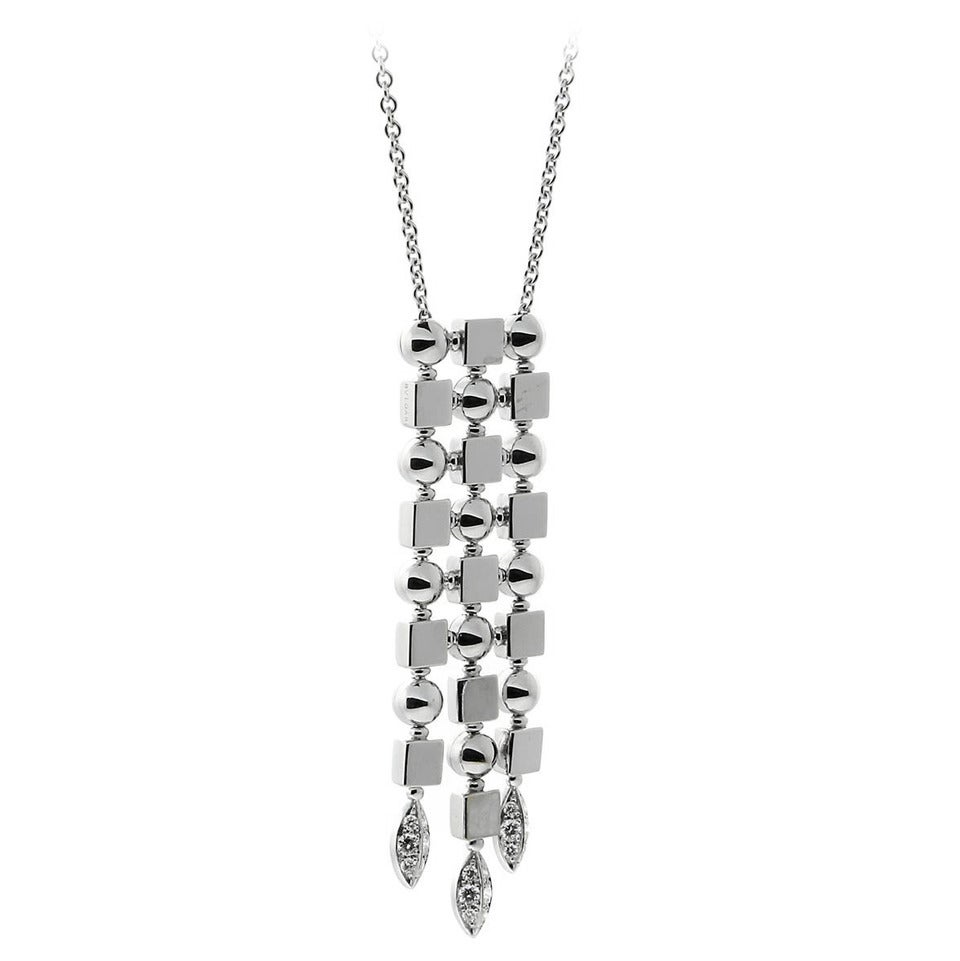 Bulgari Lucea Diamond Gold Drop Necklace For Sale