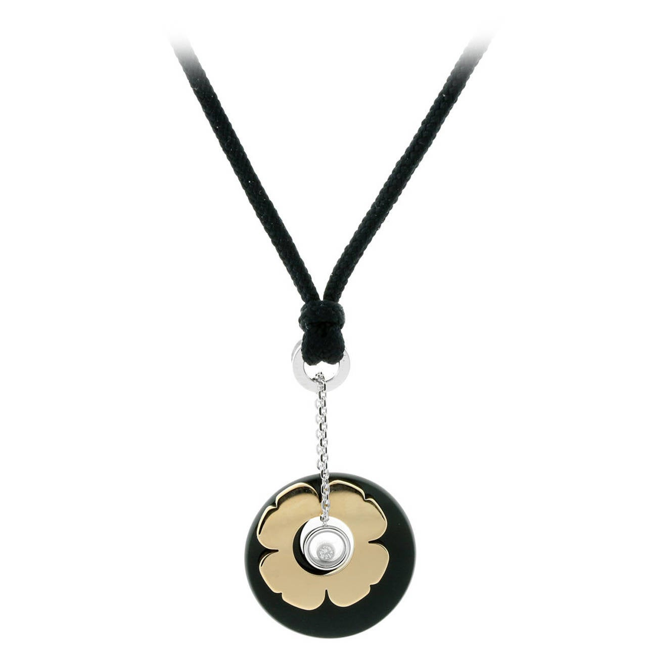 chopard happy onyx two color gold necklace at 1stdibs