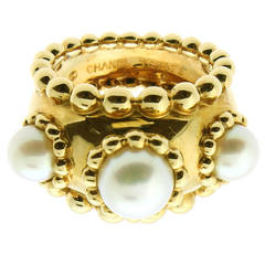 Chanel Pearl Gold Dome Ring