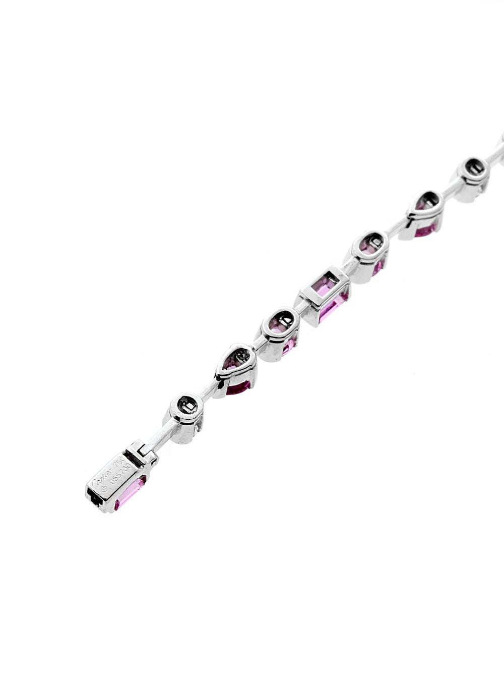 Cartier Pink Sapphire Diamond Gold Choker Necklace In Excellent Condition For Sale In Feasterville, PA