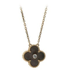 Van Cleef & Arpels Black Mother of Pearl Diamond Gold Alhambra Necklace