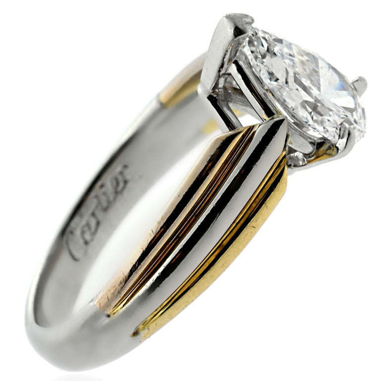 cartier pear shaped gold platinum engagement ring