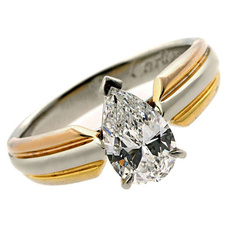 cartier pear shaped diamond engagement ring in platinum at