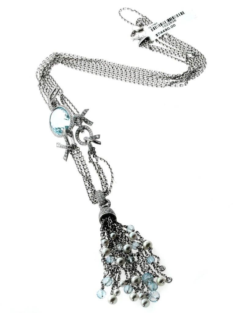 Chanel Pearl Aquamarine Diamond Gold Tassel Necklace 4