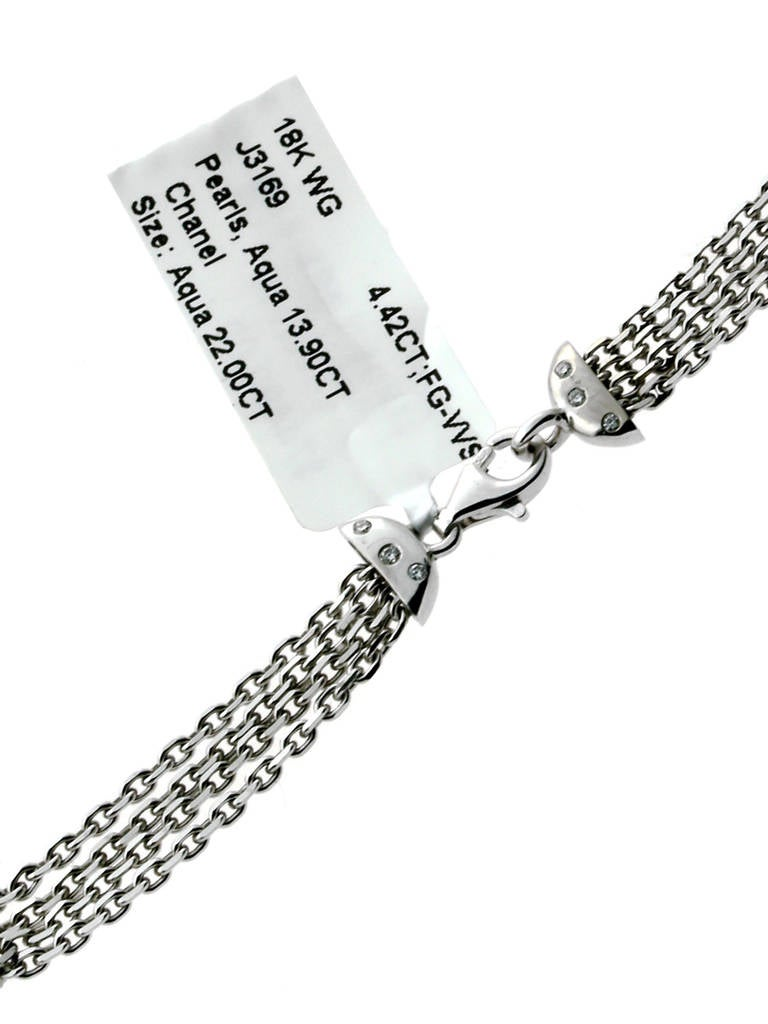 Chanel Pearl Aquamarine Diamond Gold Tassel Necklace 5