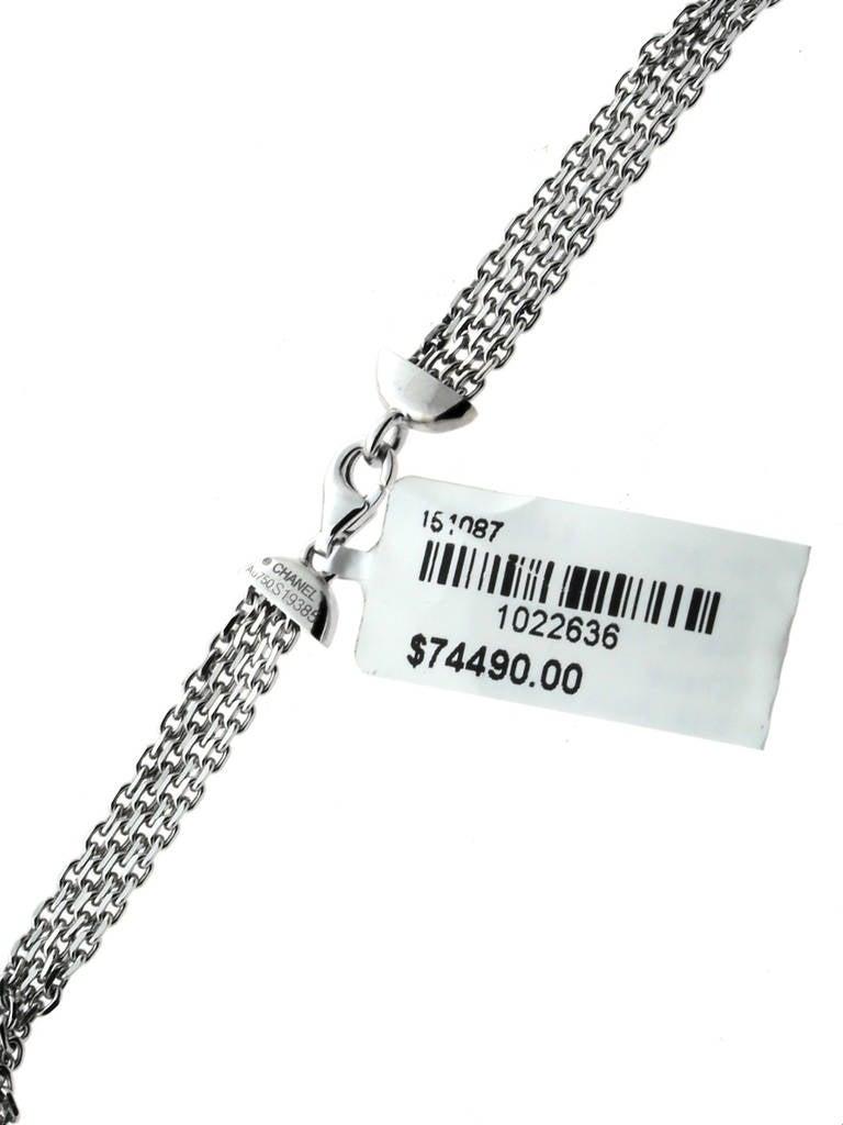 Chanel Pearl Aquamarine Diamond Gold Tassel Necklace 6