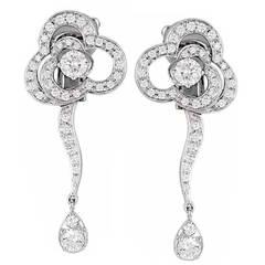 Chanel Camellia Diamond Gold Dangle Earrings
