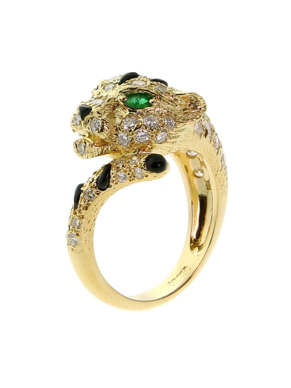 Piaget Panthere Emerald Onyx Diamond Gold Ring 2