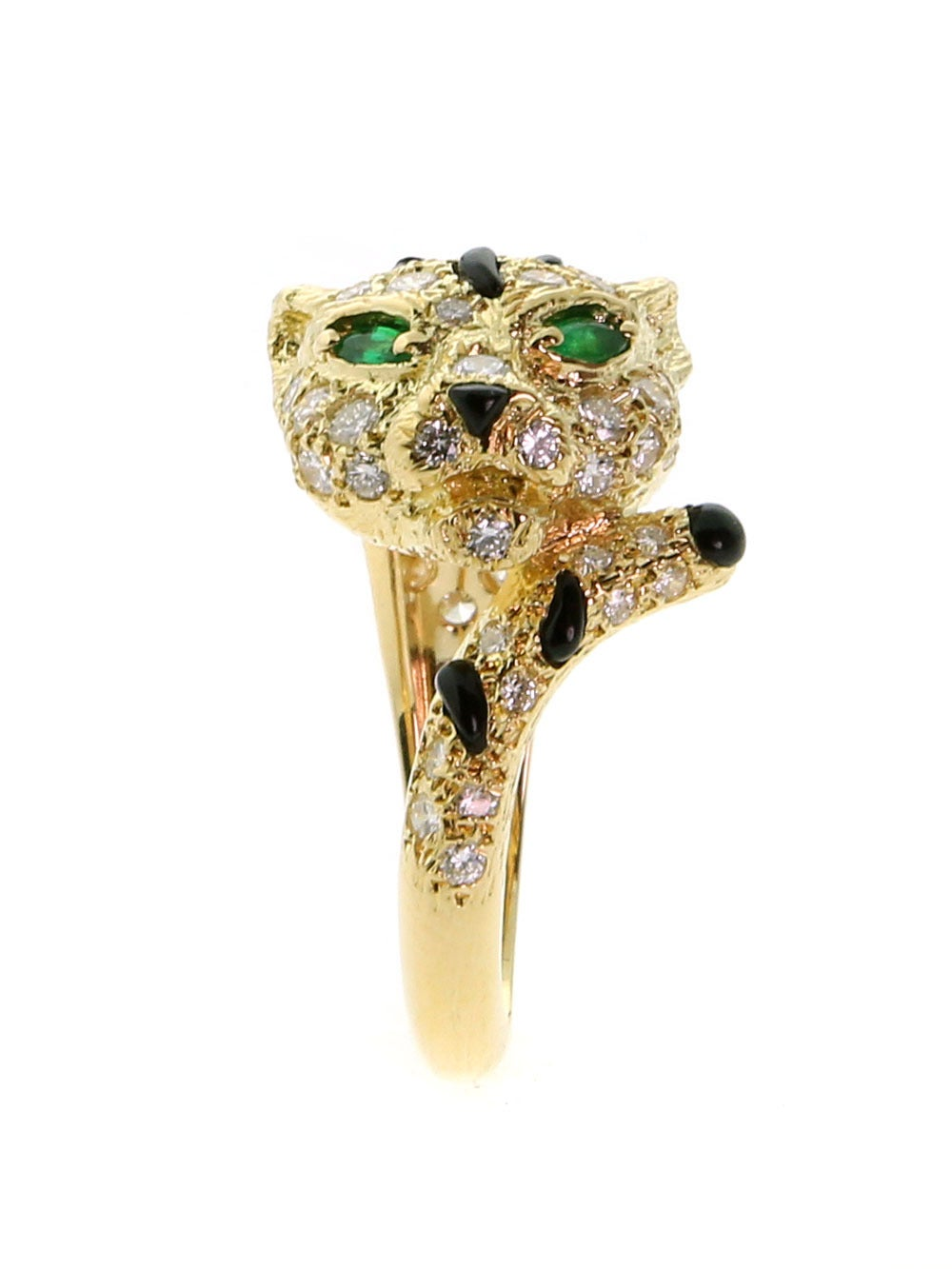 Piaget Panthere Emerald Onyx Diamond Gold Ring 3