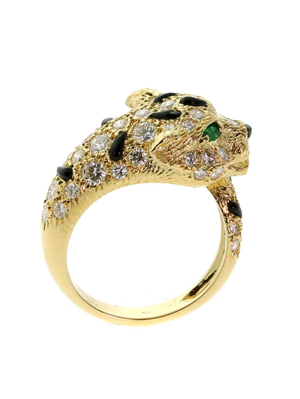 Piaget Panthere Emerald Onyx Diamond Gold Ring 4