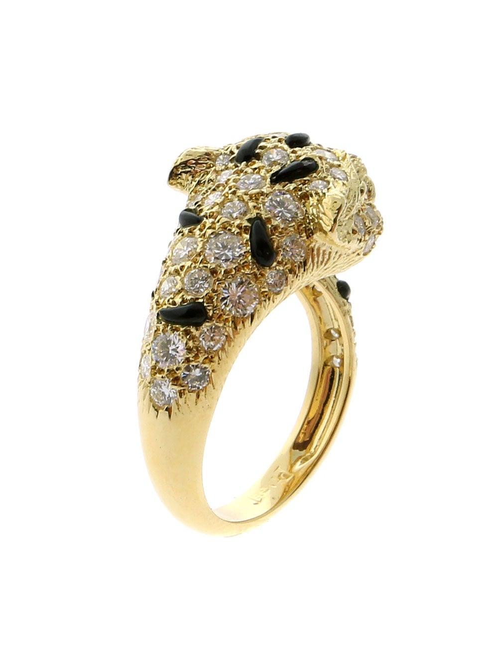 Piaget Panthere Emerald Onyx Diamond Gold Ring 5