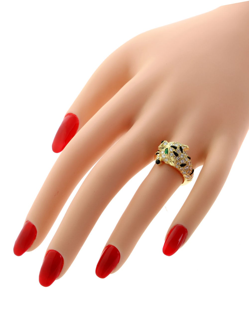 Piaget Panthere Emerald Onyx Diamond Gold Ring 6