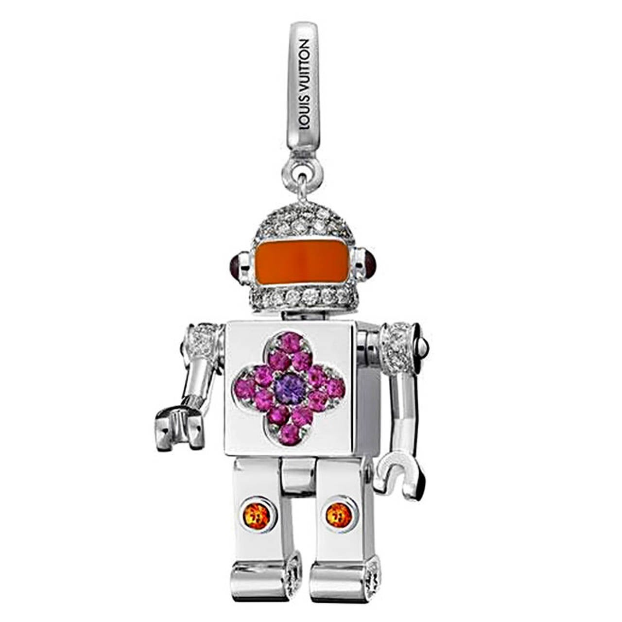 Louis Vuitton Space Man Sapphire Diamond Gold Charm Pendant
