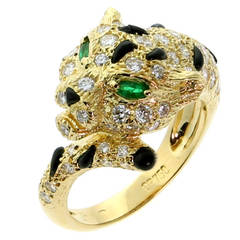 Piaget Panthere Emerald Onyx Diamond Gold Cocktail Ring
