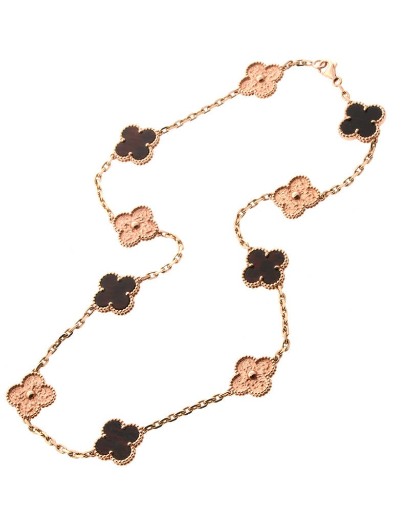 Limited Edition Van Cleef & Arpels Alhambra Letterwood Gold Necklace 2