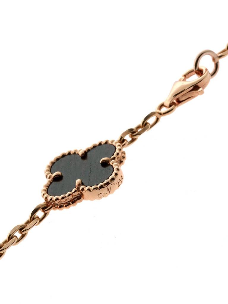 Limited Edition Van Cleef & Arpels Alhambra Letterwood Gold Necklace 4