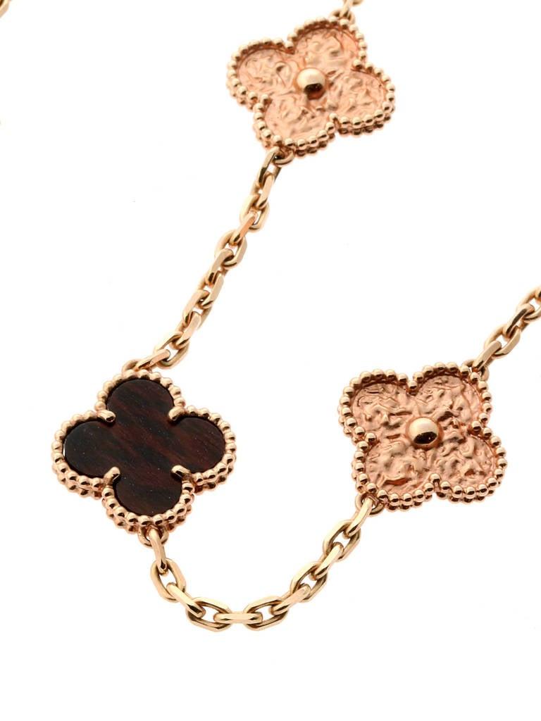 Limited Edition Van Cleef & Arpels Alhambra Letterwood Gold Necklace 5