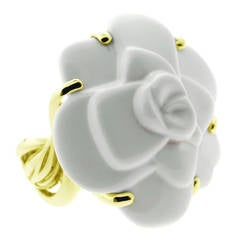 Chanel Camellia Agate Gold Ring