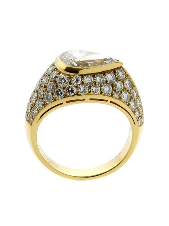 Women's or Men's Bulgari Magnificent Pear Diamond Gold Ring
