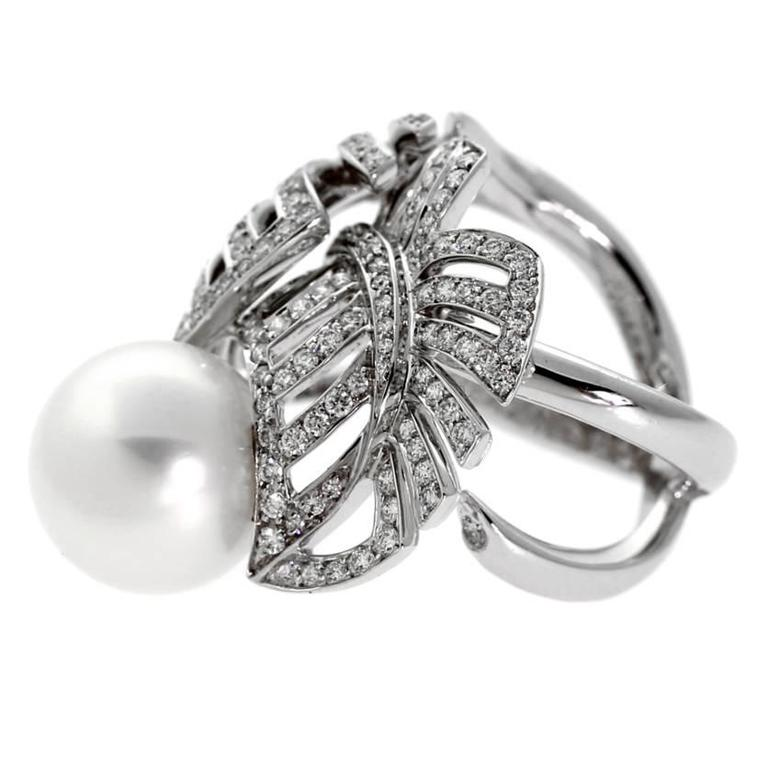 A magnificent authentic Chanel pearl and diamond ring featuring 1.72ct of the finest round brilliant cut diamonds set in 18k white gold.  Size: US 6 / EU 52 Condition: New  Chanel Retail Price: $42,800 + Tax  Inventory ID: 0000043