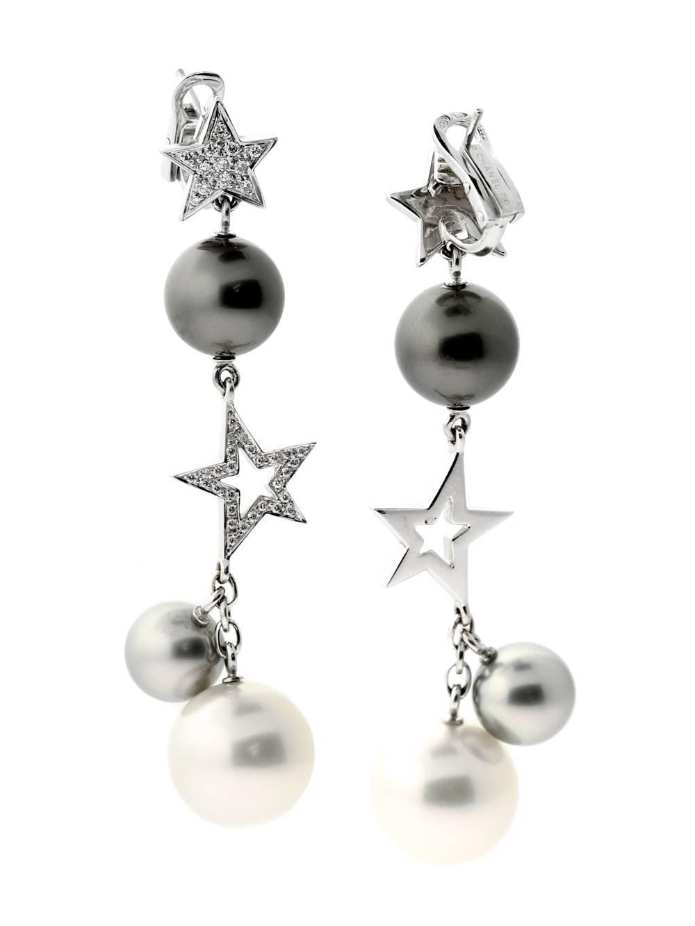 chanel comete pearl drop diamond gold earrings for sale at