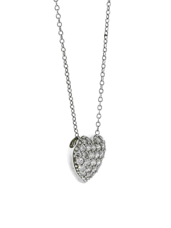Cartier Diamond Heart Platinum Necklace In Excellent Condition For Sale In Feasterville, PA