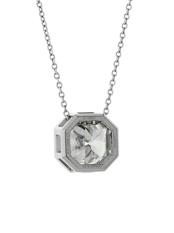 A magnificent Tiffany & Co diamond pendant necklace featuring a 3.14ct Lucida Cut diamond. The diamond has a clarity of Vvs1, H color.