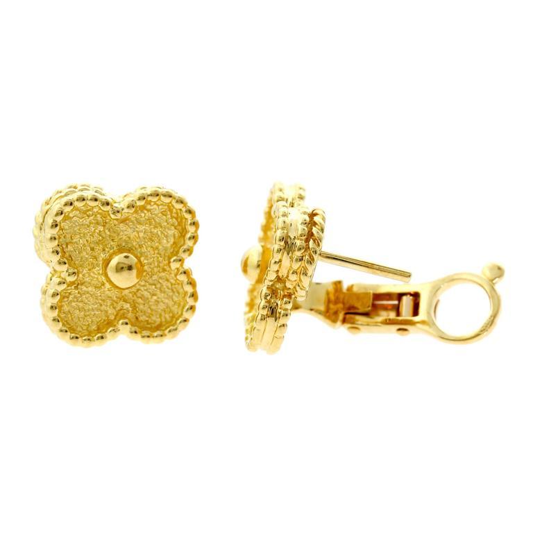 Van Cleef & Arpels Vintage Alhambra Gold Earrings 2