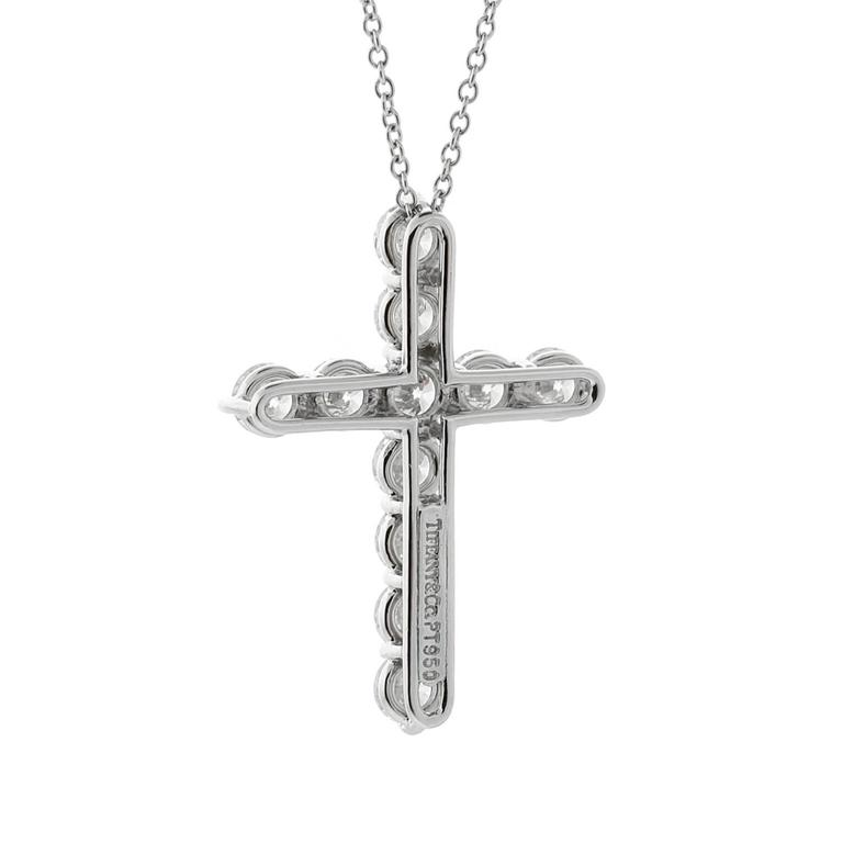 A fabulous Tiffany & Co diamond cross necklace set with 1.71ct of the finest Tiffany & Co round brilliant cut diamonds in platinum.