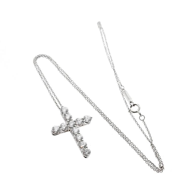 Tiffany & Co. Platinum Diamond Cross Necklace In As New Condition For Sale In Feasterville, PA
