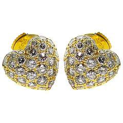 Cartier Heart Diamond Gold Earrings