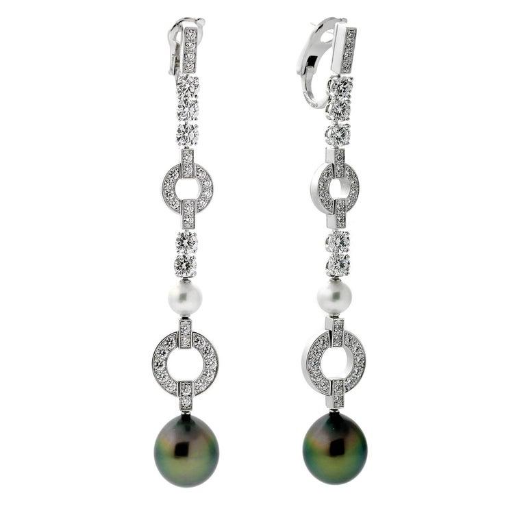 Women's Cartier Himalia Pearl Diamond White Gold Earrings For Sale