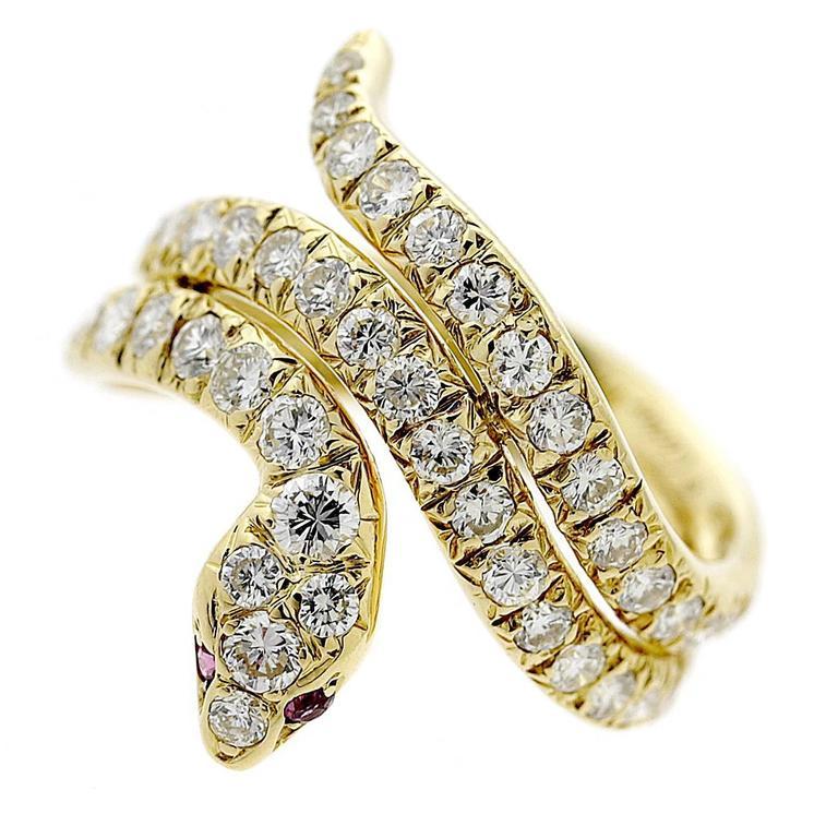 Cartier Ruby Diamond Gold Snake Ring
