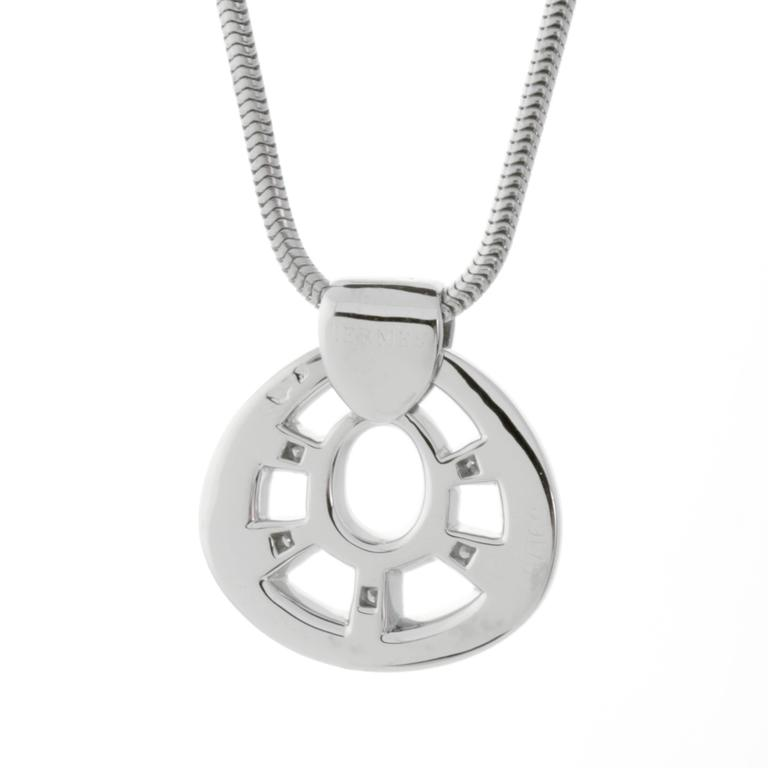 Hermes diamond pendant white gold necklace for sale at 1stdibs a fabulous authentic hermes chic pendant necklace featuring 5 hermes round brilliant cut diamonds in 18k aloadofball Gallery