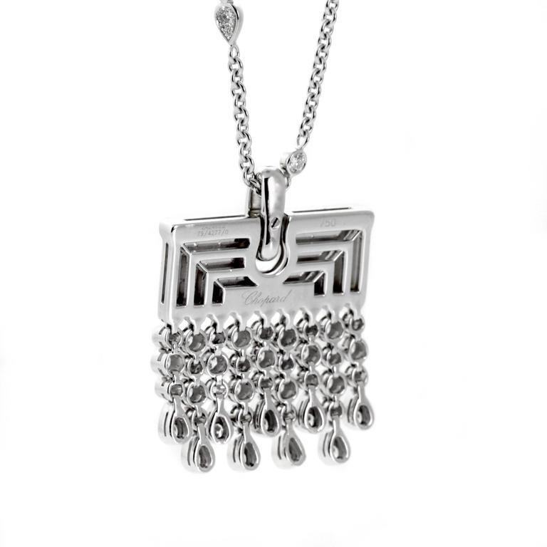 """A fantastic Chopard sautoir consisting of a 30"""" white gold necklace enhanced with 1.98ct of the finest Chopard round brilliant cut diamonds, followed by a tassel pendant consisting of 4.34cts of IF-VVS diamonds. Chopard Retail Price: $58,240.00"""
