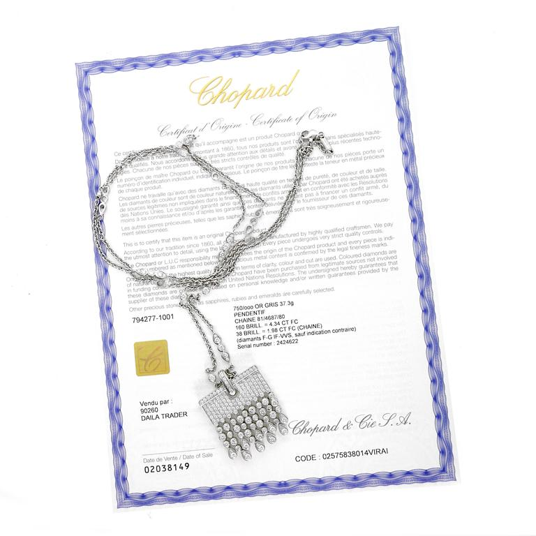Chopard Diamond white gold Tassel Drop Necklace In New Condition For Sale In Feasterville, PA