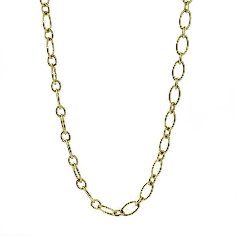 A fabulous Cartier Sautoir necklace featuring oval and circular links crafted in 18k yellow gold. The necklace may be worn as a sautoir or doubled as a choker.  Necklace Length: 32""