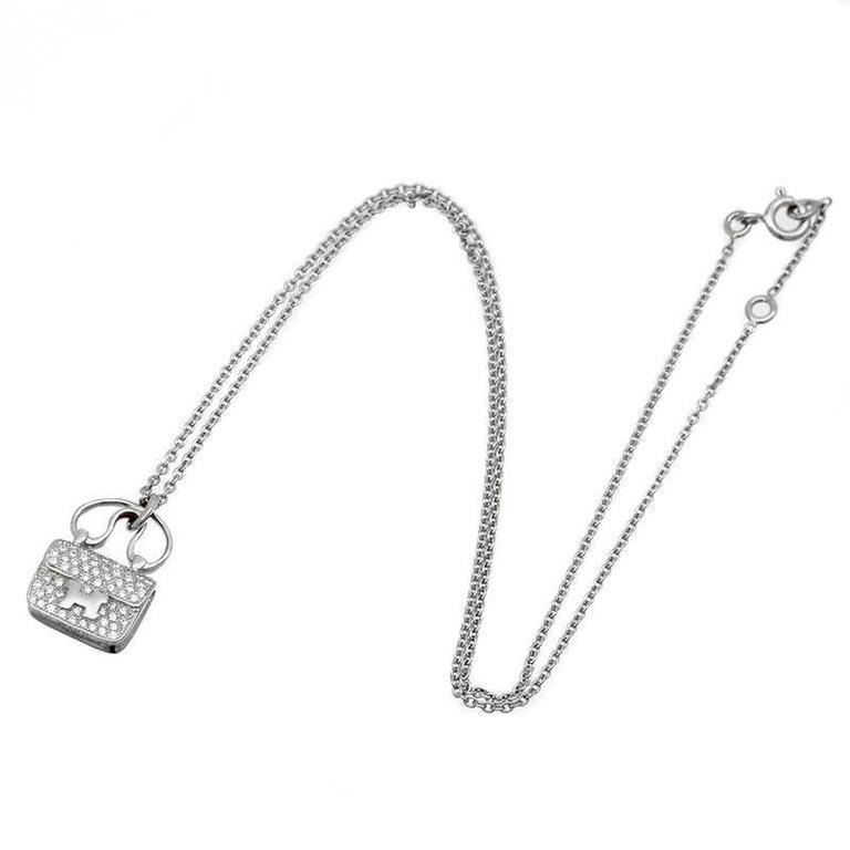 Hermes Constance Charm Diamond white gold Pendant Necklace 2
