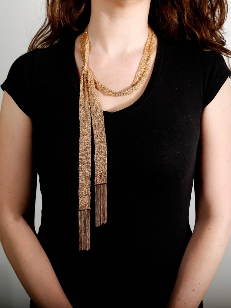 """Simple and elegant, this 18k rose gold Boucheron 46"""" Gold Scarf Necklace is an ideal accessory to complement any ensemble. Total weight 154 grams.  Boucheron Retail: 37,200 + Tax  This magnificent piece is offered by Opulent Jewelers, we are an"""