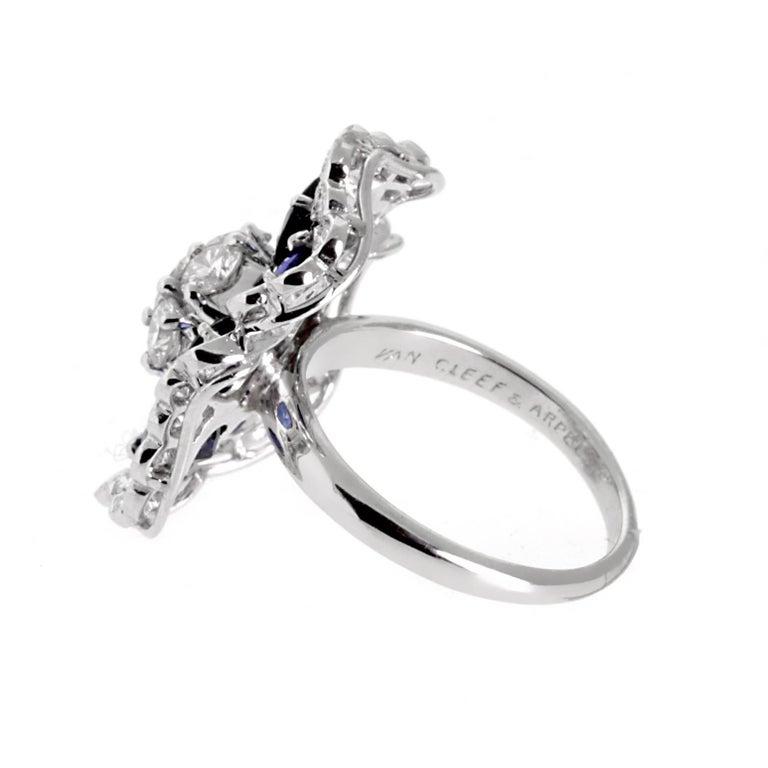 Van Cleef & Arpels Camellia Sapphire Diamond Ring 3