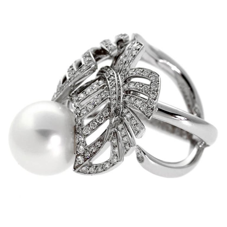 Chanel Pearl Diamond White Gold Ring In New Condition For Sale In Feasterville, PA