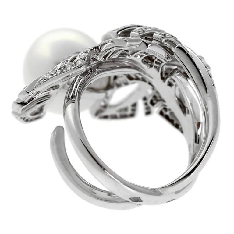 Women's Chanel Pearl Diamond White Gold Ring For Sale