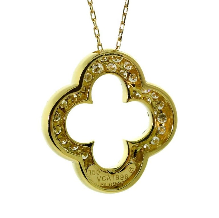 Round Cut Van Cleef & Arpels Alhambra Diamond Gold Necklace For Sale
