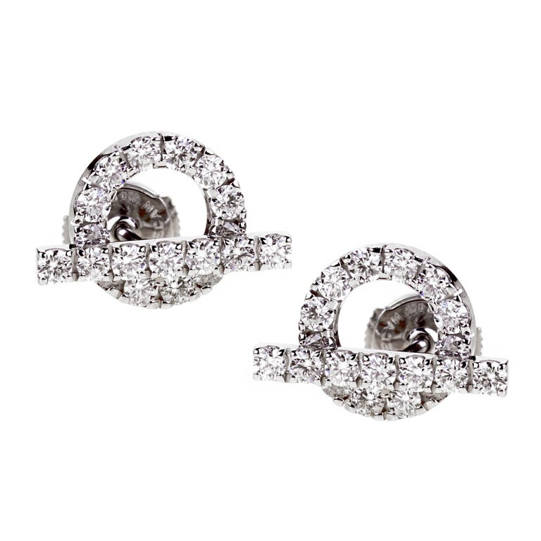 Hermes Diamond Stud White Gold Earrings In Excellent Condition For Sale In Feasterville, PA